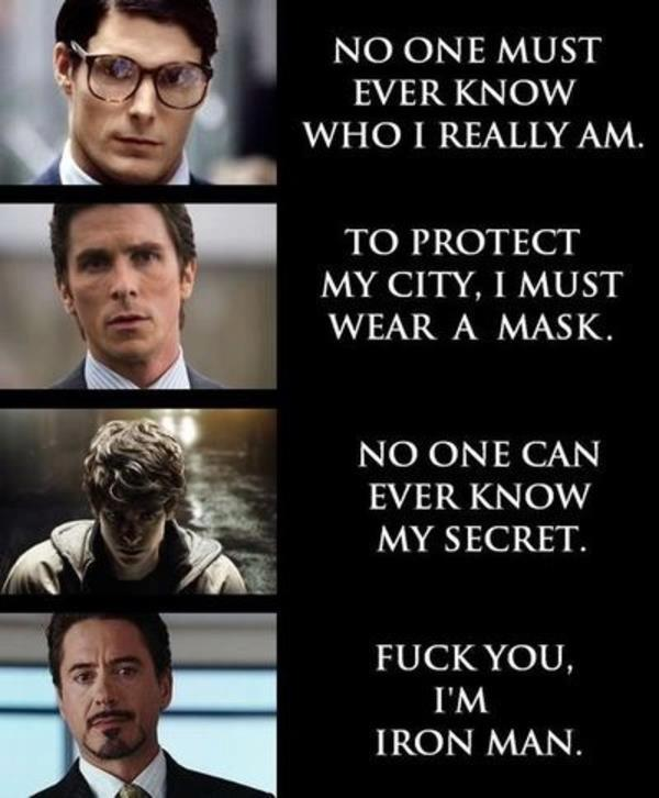 Superman Batman Iron Man funny lol pic picture Super Hero