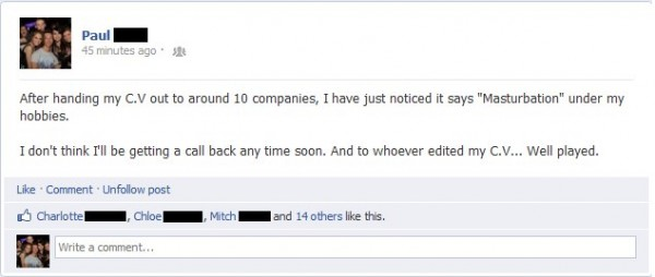 facebook status cv job funny pics pictures pic picture image photo images photos lol