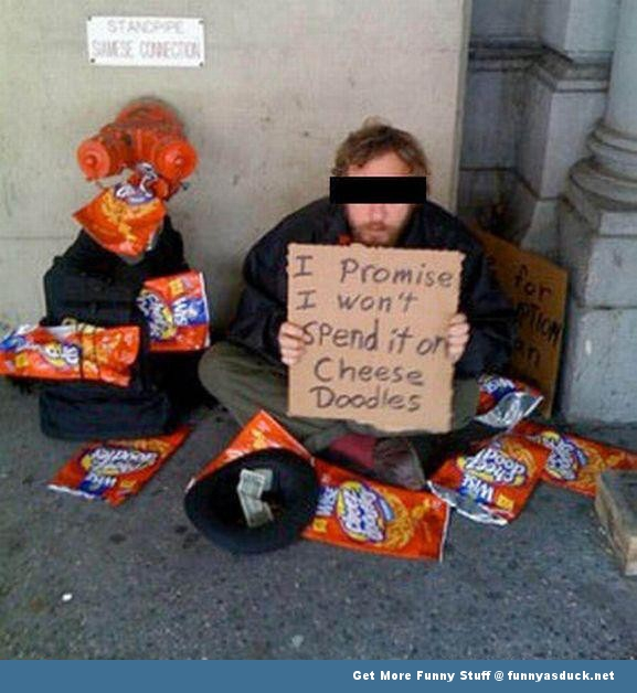 homeless guy cheese doodles funny pics pictures pic picture image photo images photos lol