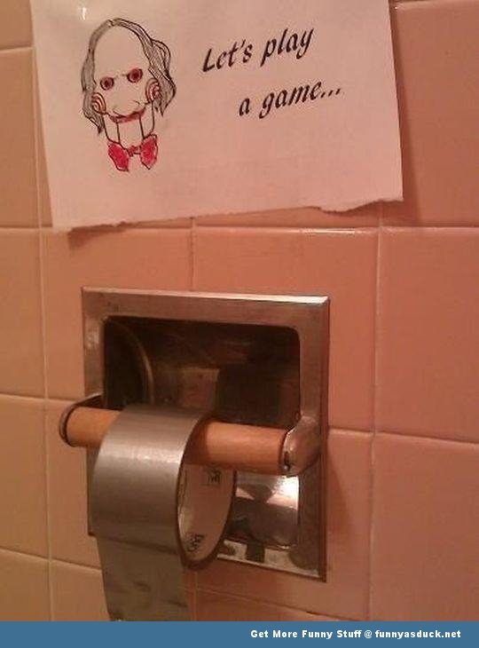 lets play a game toilet paper saw jigsaw funny pic picture lol