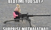 baby kid girl gun bedtime surprise funny pics pictures pic picture image photo images photos lol