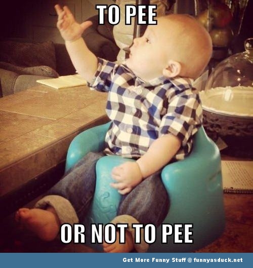 to pee or not to pee baby meme funny pics pictures pic picture image photo images photos lol