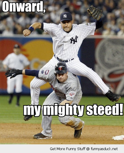 baseball players jumping mighty steed funny pics pictures pic picture image photo images photos lol
