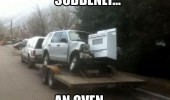 suddenly an oven car crash funny pics pictures pic picture image photo images photos lol