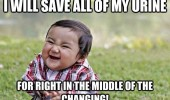 evil toddler meme urine changing funny pics pictures pic picture image photo images photos lol