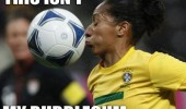 isn't my bubble gum football soccer woman player ball face funny pics pictures pic picture image photo images photos lol