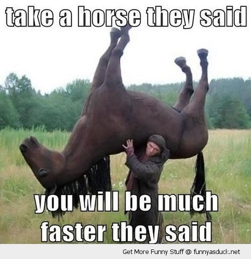 get a horse man carrying animal faster funny pics pictures pic picture image photo images photos lol