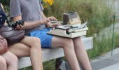 hipster typewriter park bench funny pics pictures pic picture image photo images photos lol