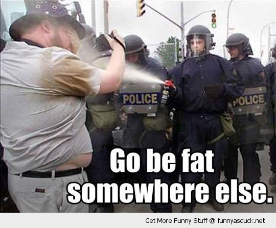 fat somewhere else riot cops spray funny pics pictures pic picture image photo images photos lol