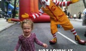 not lovin it ronald mcdonald clown kid crying funny pics pictures pic picture image photo images photos lol