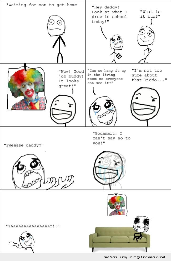 scary clown kids drawing rage comic meme funny pics pictures pic ...