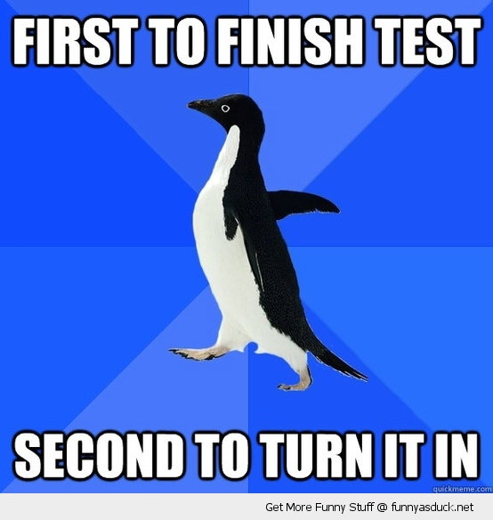 socially awkward penguin finish test meme funny pics pictures pic picture image photo images photos lol