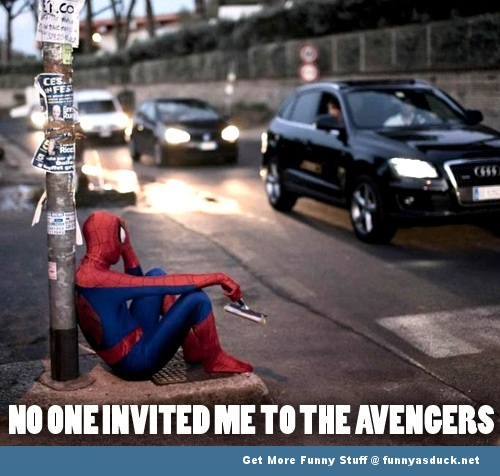 spiderman the avengers not invited funny pics pictures pic picture image photo images photos lol