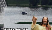 walk drive water jesus car funny pics pictures pic picture image photo images photos lol