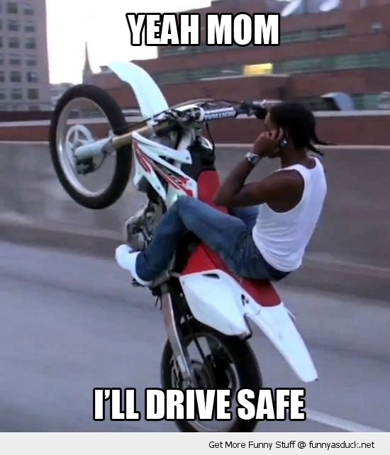 yeah mom drive safe kid motor bike phone funny pics pictures pic picture image photo images photos lol