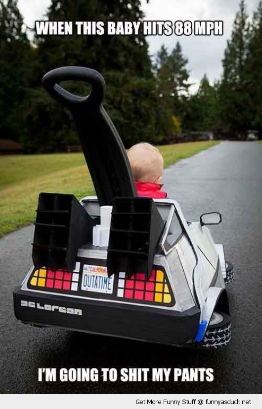 baby kid toy car delorean back to the future movie shit pants funny pics pictures pic picture image photo images photos lol