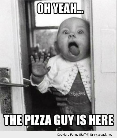 baby licking door window pizza guy here girl kid cute funny pics pictures pic picture image photo images photos lol