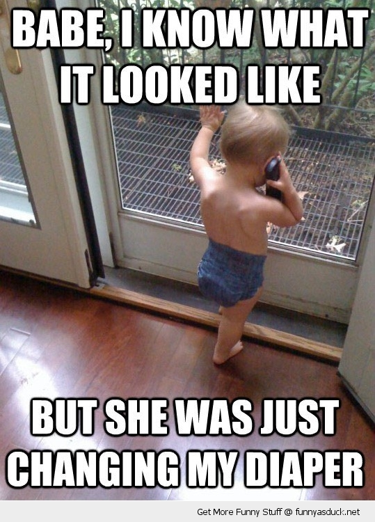 baby on phone door changing diaper meme funny pics pictures pic picture image photo images photos lol