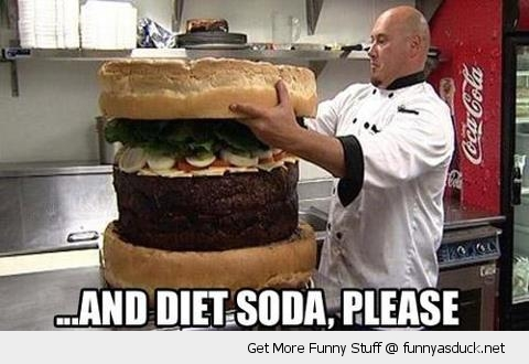big massive cheese burger ham chef diet soda please funny pics pictures pic picture image photo images photos lol