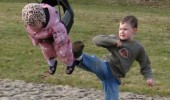 brother boy kicking baby swing park funny pics pictures pic picture image photo images photos lol