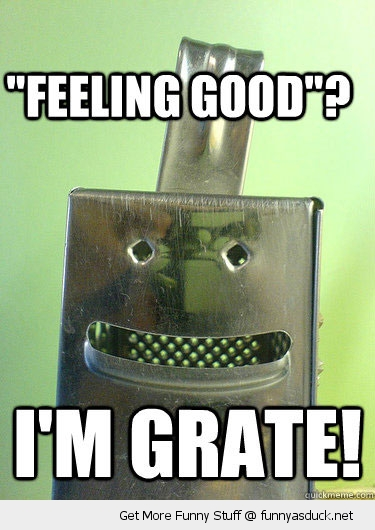 feeling good great grate cheese grater pun joke funny pics pictures pic picture image photo images photos lol
