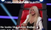 tv scene the voice harry potter justin beiber christina aguilera funny pics pictures pic picture image photo images photos lol