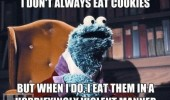 don't always eat cookie terrifying violent manner monster seseme street funny pics pictures pic picture image photo images photos lol