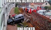 parking achievement unlocked crashed car wall funny pics pictures pic picture image photo images photos lol