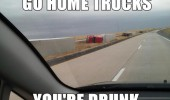 go home trucks drunk lorries crash ditch side road funny pics pictures pic picture image photo images photos lol