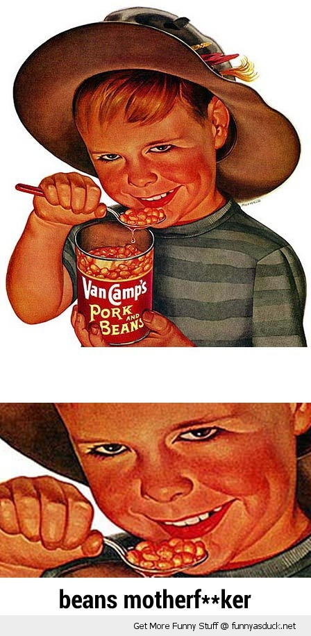 creepy old advert kid beans cowboy eating funny pics pictures pic picture image photo images photos lol