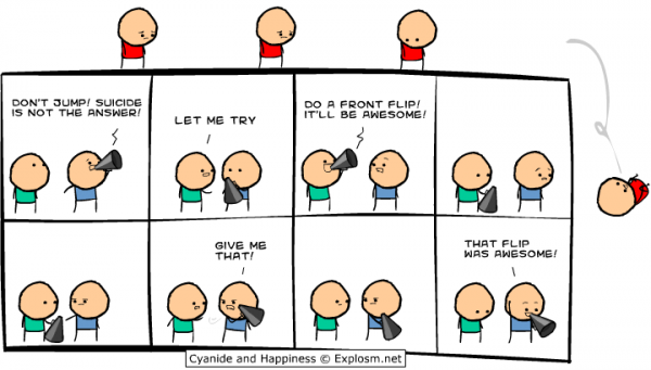 cyanide happiness comic suicide jump front flip awesome funny pics pictures pic picture image photo images photos lol