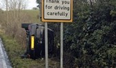 the irony crashed car drive carefully sign road ditch funny pics pictures pic picture image photo images photos lol