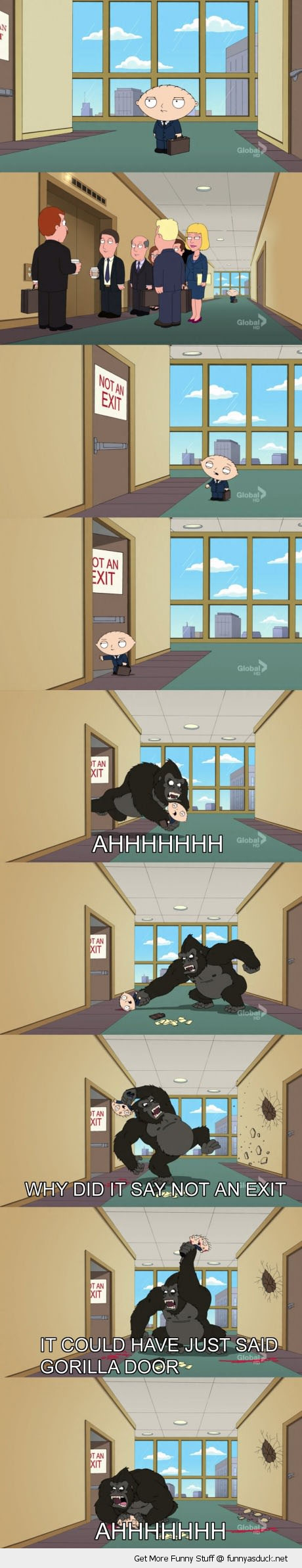 family guy stewie no exit gorilla door tv scene funny pics pictures pic picture image photo images photos lol