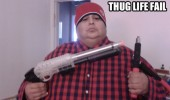 thug life fail fat guy man toy gun hat tongs funny pics pictures pic picture image photo images photos lol