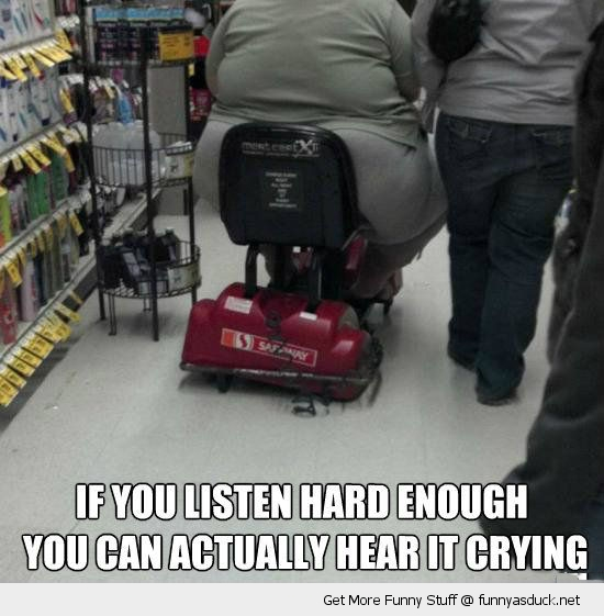 fat obese woman mobility scooter broken squashed hear cry listen closely funny pics pictures pic picture image photo images photos lol