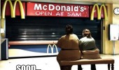 fat woman sitting outside mcdonalds people soon funny pics pictures pic picture image photo images photos lol