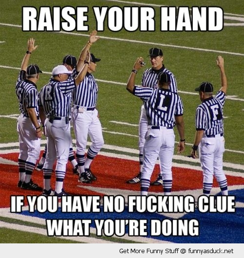 nfl football referees refs hand up no clue what you're doing raise sport funny pics pictures pic picture image photo images photos lol