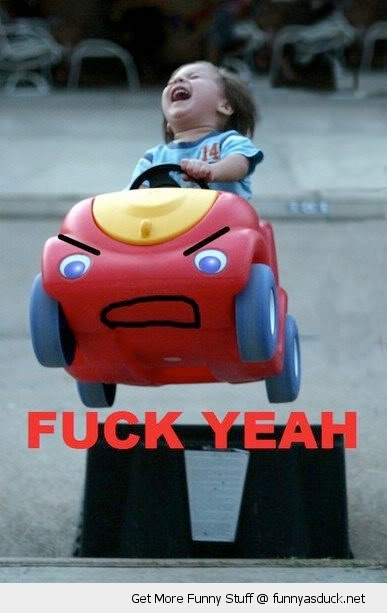 fuck yeah happy kid girl baby toy car ramp jump funny pics pictures pic picture image photo images photos lol