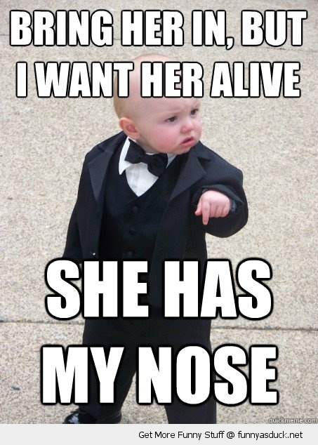 gangster baby meme alive has my nose cute kid suit funny pics pictures pic picture image photo images photos lol