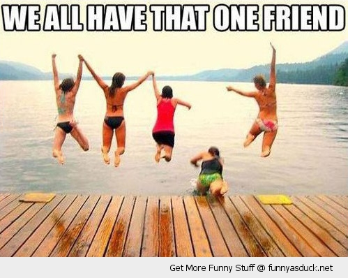 that one friend falling water jump pier girls lake funny pics pictures pic picture image photo images photos lol