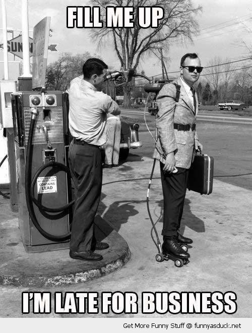 man filling gas up jet pack fill late business funny pics pictures pic picture image photo images photos lol
