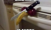 girlfriend is angry knife cut banana apples penis funny pics pictures pic picture image photo images photos lol