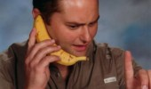 hold on second this isn't my phone man banana talking ear funny pics pictures pic picture image photo images photos lol