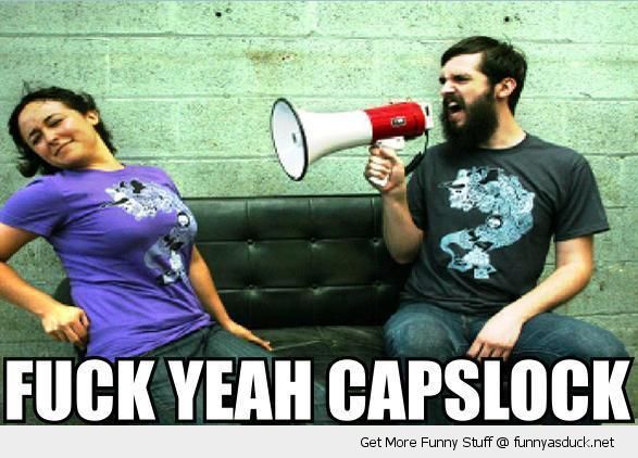 man shouting woman megaphone fuck yeah capslock couch funny pics pictures pic picture image photo images photos lol