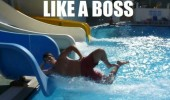 man sliding water park pool like a boss funny pics pictures pic picture image photo images photos lol