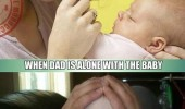 mom dad alone difference between watching baby kid squashed face funny pics pictures pic picture image photo images photos lol
