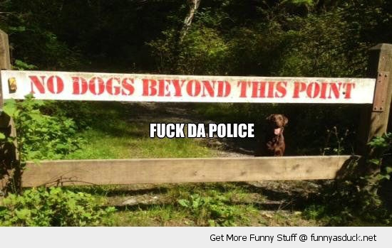 no dogs beyond this sign fence animal fuck the police happy funny pics pictures pic picture image photo images photos lol