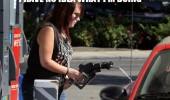 no idea doing woman spilling petrol car gas station pump funny pics pictures pic picture image photo images photos lol