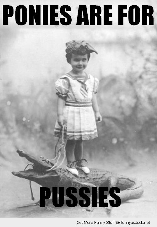 old fashioned kid girl standing alligator crocodile lead leash animal ponies pussies funny pics pictures pic picture image photo images photos lol