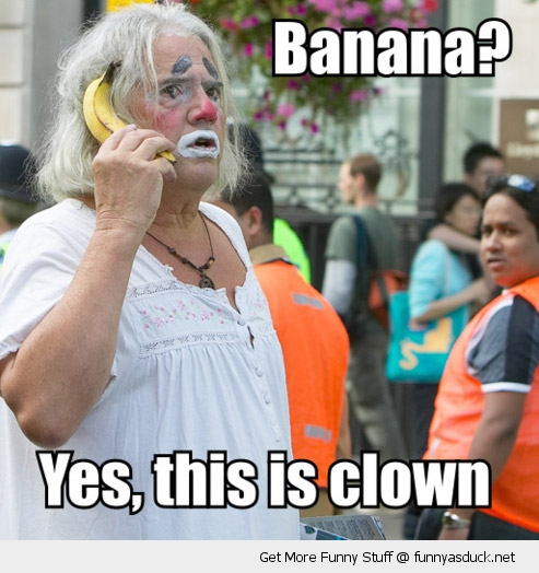 banana phone old man clown make up street funny pics pictures pic picture image photo images photos lol
